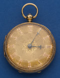 Timepieces:Pocket (pre 1900) , Swiss Fancy Dial 18k Gold Lever Fusee. ...