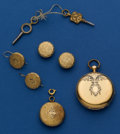 Timepieces:Pocket (pre 1900) , Bautte Geneva Gold & Enamel Key Wind With Gilt Pin, Earrings& Buttons. ...