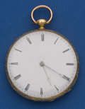 Timepieces:Pocket (pre 1900) , Ducommun, French 18k Gold Key Wind. ...