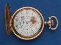 Timepieces:Pocket (post 1900), Elgin O Size With Fancy Painted Dial. ...