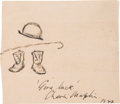 Movie/TV Memorabilia:Autographs and Signed Items, Charlie Chaplin Autograph with Drawing....
