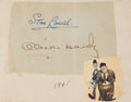 Movie/TV Memorabilia:Autographs and Signed Items, Stan Laurel and Oliver Hardy Autographs....