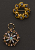 Estate Jewelry:Brooches - Pins, Two Antique Gold Pins. ... (Total: 2 Items)