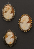 Estate Jewelry:Cameos, Three Antique Cameo Pins. ... (Total: 3 Items)