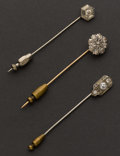 Estate Jewelry:Stick Pins and Hat Pins, Three Diamond Stick Pins. ... (Total: 3 Items)