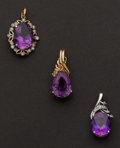 Estate Jewelry:Pendants and Lockets, Three Gold & Amethyst Pendants. ... (Total: 3 Items)