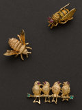 Estate Jewelry:Brooches - Pins, Three Gold Birds & Bees Pins. ... (Total: 3 Items)