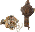 Movie/TV Memorabilia:Props, Amistad Prop Skull Amulet and Cross.... (Total: 2 Items)
