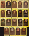 Baseball Collectibles:Others, Baseball Legends Signed Hall of Fame Plaque Postcards Lot of 19....