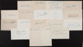 Baseball Collectibles:Others, Baseball Stars Signed Index Cards Lot of 18....