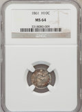 Seated Half Dimes: , 1861 H10C MS64 NGC. NGC Census: (130/93). PCGS Population (100/60).Mintage: 3,361,000. Numismedia Wsl. Price for problem f...
