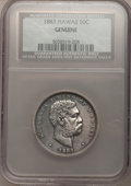 Coins of Hawaii, (5)1883 50C Hawaii Half Dollar NCS Genuine. NGC Census: (23/260). PCGS Population (52/341). Mintage: 700,000. (#10991)... (Total: 5 coins)