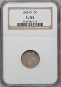 Barber Dimes: , 1908-O 10C AU58 NGC. NGC Census: (3/72). PCGS Population (2/91).Mintage: 1,789,000. Numismedia Wsl. Price for problem free...