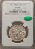 Seated Half Dollars: , 1842-O 50C Medium Date, Large Letters AU55 NGC. CAC. NGC Census:(3/22). PCGS Population (5/16). Mintage: 754,000. Numismed...
