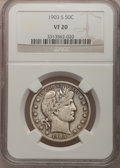 Barber Half Dollars: , 1903-S 50C VF20 NGC. NGC Census: (0/75). PCGS Population (9/117).Mintage: 1,920,772. Numismedia Wsl. Price for problem fre...