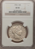 Barber Half Dollars: , 1903 50C XF45 NGC. NGC Census: (3/67). PCGS Population (17/99).Mintage: 2,278,755. Numismedia Wsl. Price for problem free ...