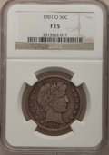 Barber Half Dollars: , 1901-O 50C Fine 15 NGC. NGC Census: (1/47). PCGS Population (9/78).Mintage: 1,124,000. Numismedia Wsl. Price for problem f...