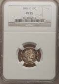 Barber Dimes: , 1896-O 10C VF35 NGC. NGC Census: (4/39). PCGS Population (4/65). Mintage: 610,000. Numismedia Wsl. Price for problem free N...