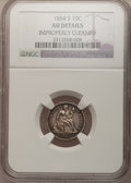 Seated Dimes: , 1884-S 10C --Improperly Cleaned--NGC Details. AU. NGC Census:(2/45). PCGS Population (4/53). Mintage: 564,969. Numismedia W...