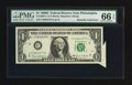Error Notes:Attached Tabs, Fr. 1907-C $1 1969D Federal Reserve Note. PMG Gem Uncirculated 66EPQ.. ...
