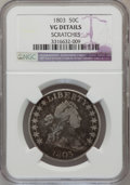 Early Half Dollars: , 1803 50C Large 3--Scratched--NGC Details. VG. NGC Census: (8/918).PCGS Population (7/379). Mintage: 188,234. Numismedia Ws...