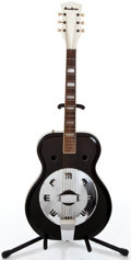 Musical Instruments:Resonator Guitars, 1960's Airline Folksinger Black Resonator Guitar #N/A...