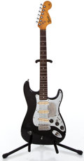 Musical Instruments:Electric Guitars, 1966 Fender Stratocaster Refin Black Solid Body Electric Guitar#F311381...
