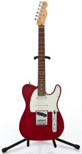 Musical Instruments:Electric Guitars, 1998 Fender Telecaster Deluxe Trans Red Solid Body Electric Guitar#DN801887...