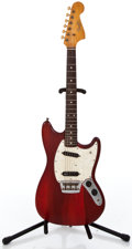 Musical Instruments:Electric Guitars, 1966 Fender Musicmaster Refin Red Solid Body Electric Guitar#142756...