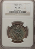 Seated Half Dollars: , 1850-O 50C MS63 NGC. NGC Census: (12/39). PCGS Population (9/27).Mintage: 2,456,000. Numismedia Wsl. Price for problem fre...