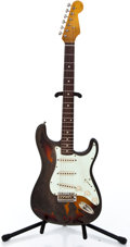 Musical Instruments:Electric Guitars, Recent Fender Copy Strat Relic Sunburst Solid Body Electric Guitar...