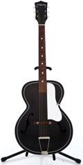 Musical Instruments:Acoustic Guitars, 1950's Silvertone Archtop Black Archtop Acoustic Guitar #57658...