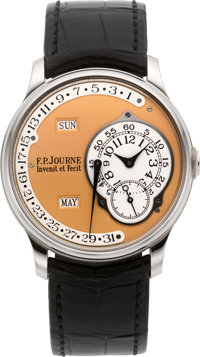 F.P. Journe Octa Calendrier Rare Platinum Automatic Annual Calendar With Retrograde Date & Gold Dial