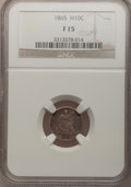 Seated Half Dimes: , 1865 H10C Fine 15 NGC. NGC Census: (1/46). PCGS Population (1/61).Mintage: 13,000. Numismedia Wsl. Price for problem free ...
