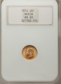 Commemorative Gold: , 1916 G$1 McKinley MS63 NGC. NGC Census: (350/1572). PCGS Population(760/2897). Mintage: 9,977. Numismedia Wsl. Price for p...
