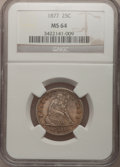 Seated Quarters: , 1877 25C MS64 NGC. NGC Census: (78/120). PCGS Population (65/137).Mintage: 10,911,710. Numismedia Wsl. Price for problem f...