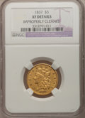 Classic Half Eagles: , 1837 $5 --Improperly Cleaned--NGC Details. XF. NGC Census:(39/331). PCGS Population (22/134). Mintage: 207,121. Numismedia...