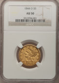 Liberty Half Eagles: , 1844-O $5 AU50 NGC. NGC Census: (50/393). PCGS Population (41/106).Mintage: 364,600. Numismedia Wsl. Price for problem fre...