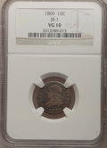 Bust Dimes: , 1809 10C VG10 NGC. JR-1. NGC Census: (0/37). PCGS Population(1/54). Mintage: 51,065. Numismedia Wsl. Price for problem fre...