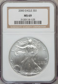 Modern Bullion Coins: , 2000 $1 Silver Eagle MS69 NGC. PCGS Population (5388/0). NumismediaWsl. Price for problem free NGC/PCG...