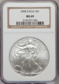 Modern Bullion Coins, 2008 $1 Silver Eagle MS69 NGC. PCGS Population (2397/1143).Numismedia Wsl. Price for problem free NGC/...