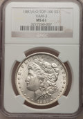 Morgan Dollars: , 1887/6-O $1 MS61 NGC. VAM-3. A Top 100 Variety. NGC Census:(77/283). PCGS Population (126/563). Numismedia Wsl. Price for...