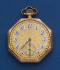 Timepieces:Pocket (post 1900), Longines Private Label 12 Size Pocket Watch With Fancy Gold Dial....