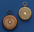 Timepieces:Pocket (pre 1900) , Two Swiss Gold & Enamel Key Wind Pocket Watches. ... (Total: 2Items)