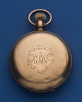 Timepieces:Pocket (post 1900), Waltham 18 Size Low Karat Gold Brooklyn Eagle Hunter's Case PocketWatch. ...