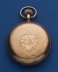 Waltham 18 Size Low Karat Gold Brooklyn Eagle Hunter's Case Pocket Watch