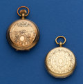 Timepieces:Pocket (pre 1900) , Two Key Wind Pocket Watches -Waltham 10k Gold 6 Size & A Swiss 40 mm 18k Gold Runners. ... (Total: 2 Items)