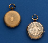 Two Swiss 40 mm 10k Gold Key Wind Pocket Watches