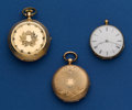 Timepieces:Pocket (pre 1900) , Three Swiss Gold Pocket Watches For Repair. ... (Total: 3 Items)