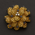 Estate Jewelry:Brooches - Pins, Diamond & Sapphire Brooch Heavy 18k Yellow Gold. ...